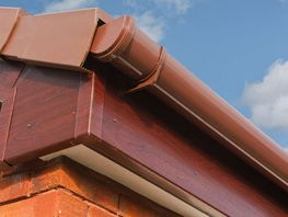 close up of a roof gutter